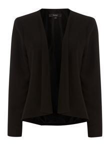 Soft tailored drape front jacket
