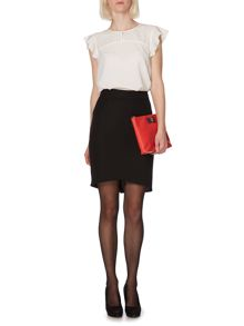 Soft tailored asymmetric skirt