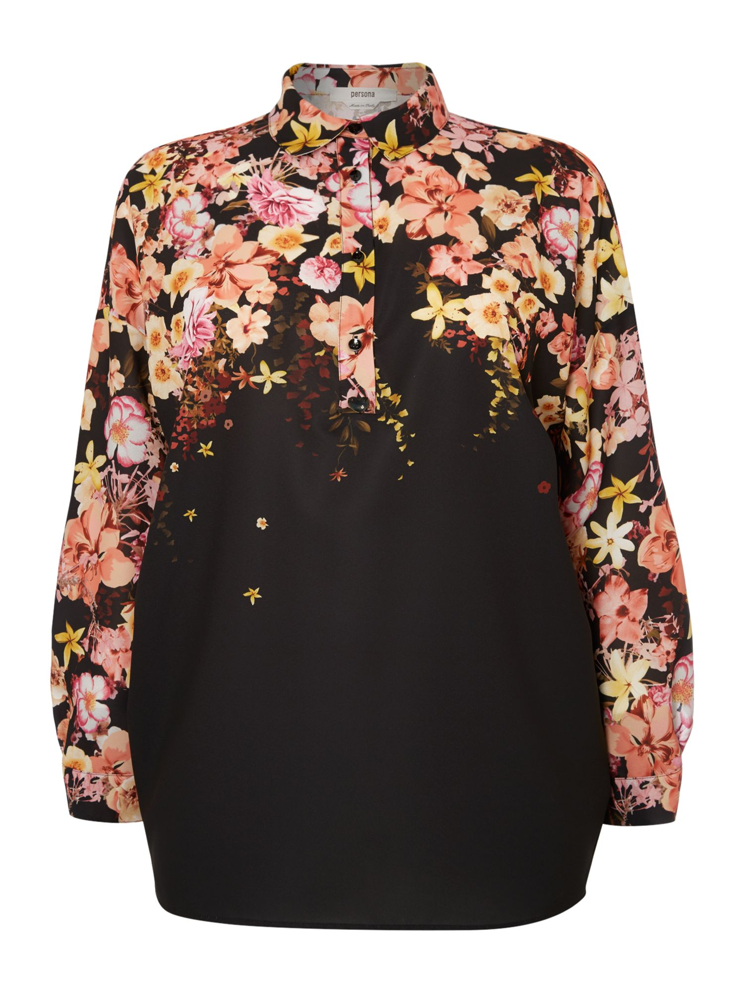 Persona Persona Plus Size Bolivia long sleeved floral shirt, Black