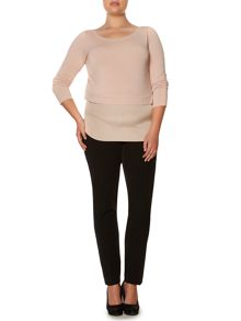 Plus Size Viviana layered long sleeved jersey top