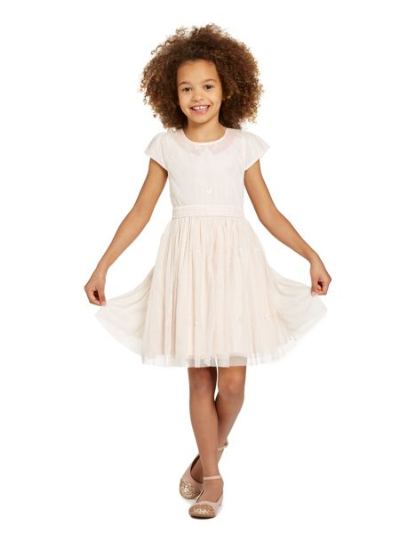 Little Dickins & Jones Girls Sequined Rounded Collar Dress
