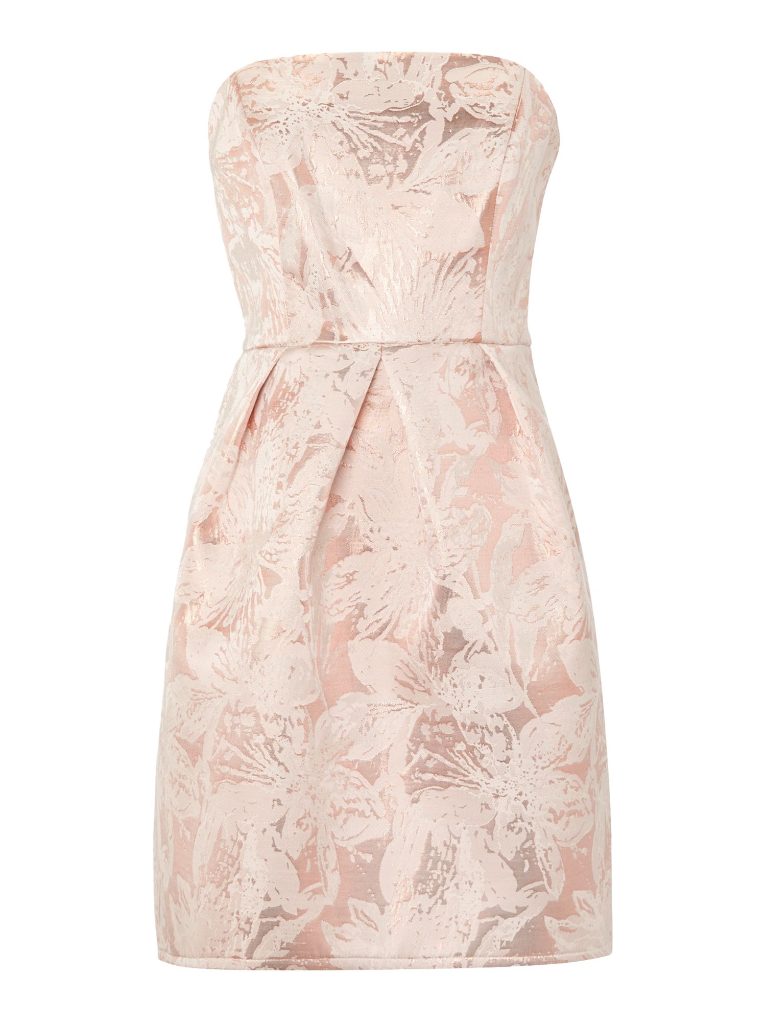 Untold Untold Fifties style strapless dress with dropped hem, Light Pink