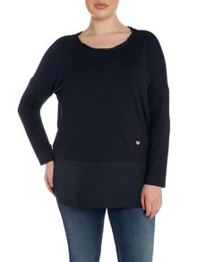 Plus Size Valzer tie back layered jersey top