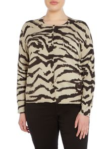 Persona Plus Size Mago Leopard Knitted Cardigan