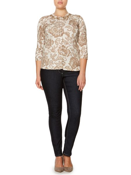 Persona Plus Size Milly lace print knitted cardigan