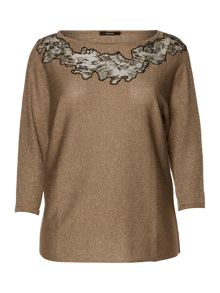 Anna lace detail knitted sparkle sweater