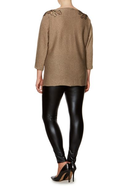 Persona Anna lace detail knitted sparkle sweater
