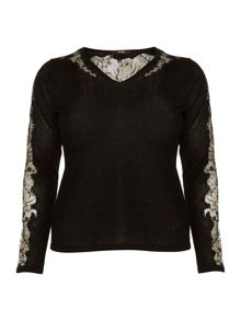 Persona Plus Size Aloe lace detail v neck knitted sweater