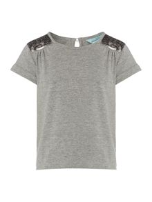 Girls sequin shoulder short sleeve top