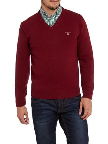 Solid lambswool v-neck jumper