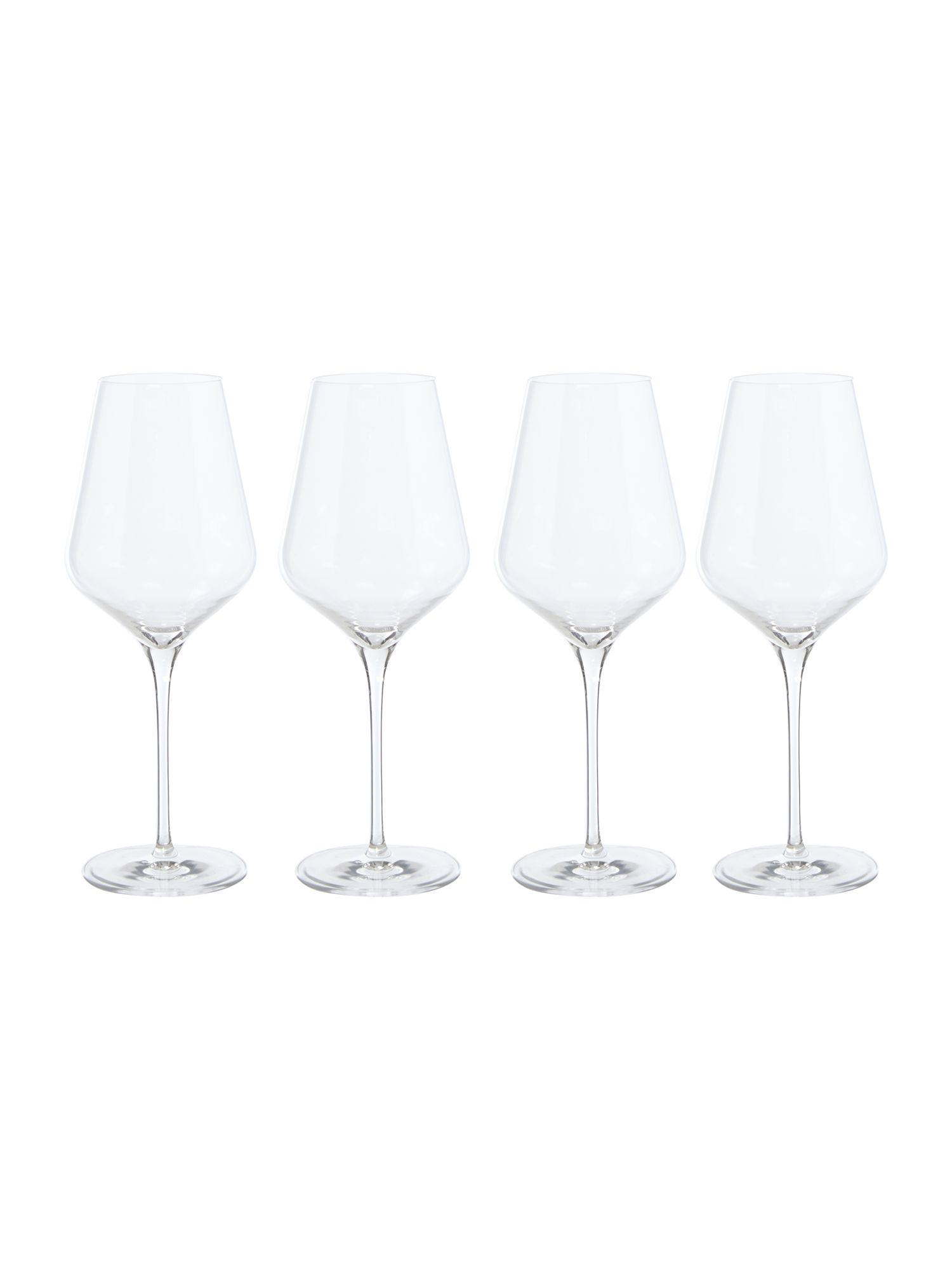 Linea Wine cellar set of 4 oaked white crystal glasses