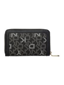 Coated logo black medium zip around purse