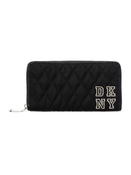 DKNY Nylon black large quilted zip around purse