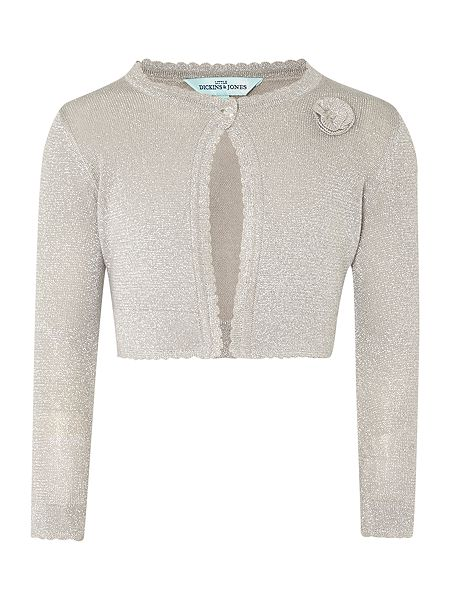 This lightweight cardigan is great for layering over dresses this Christmas. We love the whisper-pink and silver ombré finish along the bottom of the cardigan with just a twinkling of sparkle thread, too.