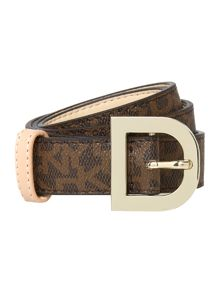 Coated logo brown belt with d-ring