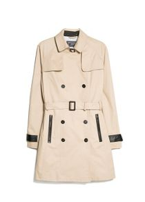 Contrast Trim Trench Coat