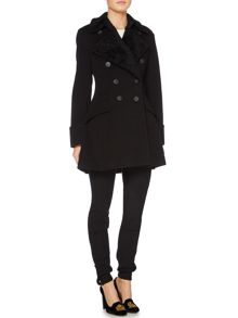 Long sleeved double breasted wool coat