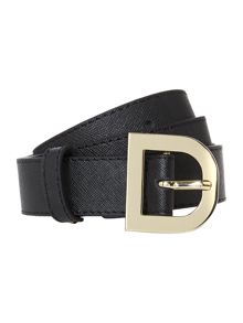 Saffiano leather black belt with d-ring buckle