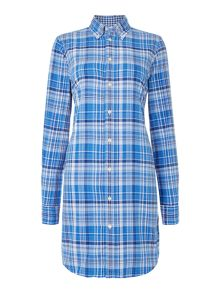 Long sleeved checked shirt dress