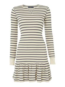 Long sleeved striped frill hem dress