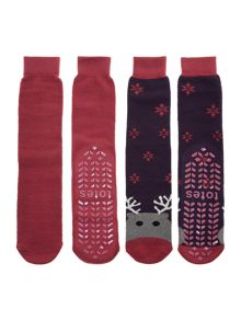Novelty 2-pack slipper socks