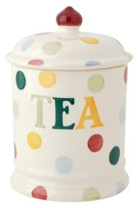Emma Bridgewater Polka Dot Text Tea Storage Jar