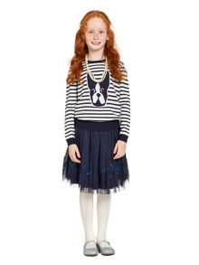 Girls dogs stripe crew jumper