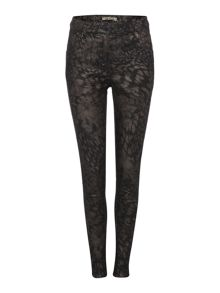 Abstract leopard foil skinny jeans