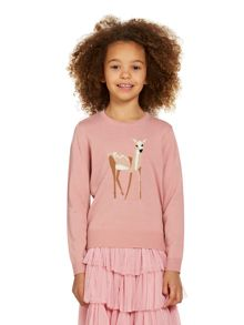 Girls deer crew jumper