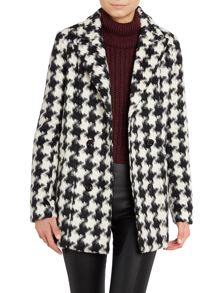 Houndstooth outerwear coat