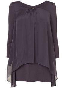 Therese silk split back blouse