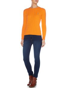 Long sleeved crew neck knitted jumper