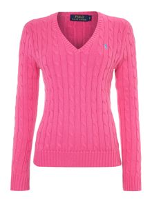 Long sleeved v neck knitted jumper