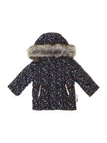 girls detachable fur hood print jacket