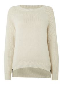 Zip detail textured jumper