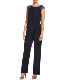 Jumpsuit with beaded cap sleeves