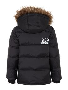 boys down jacket with detachable fur trim hood