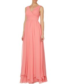 Sleeveless pleated waist maxi
