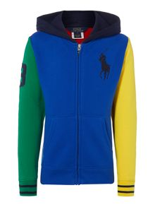 Boys jersey hoody with contrast sleeves