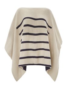 Stripe knit Reversable Poncho