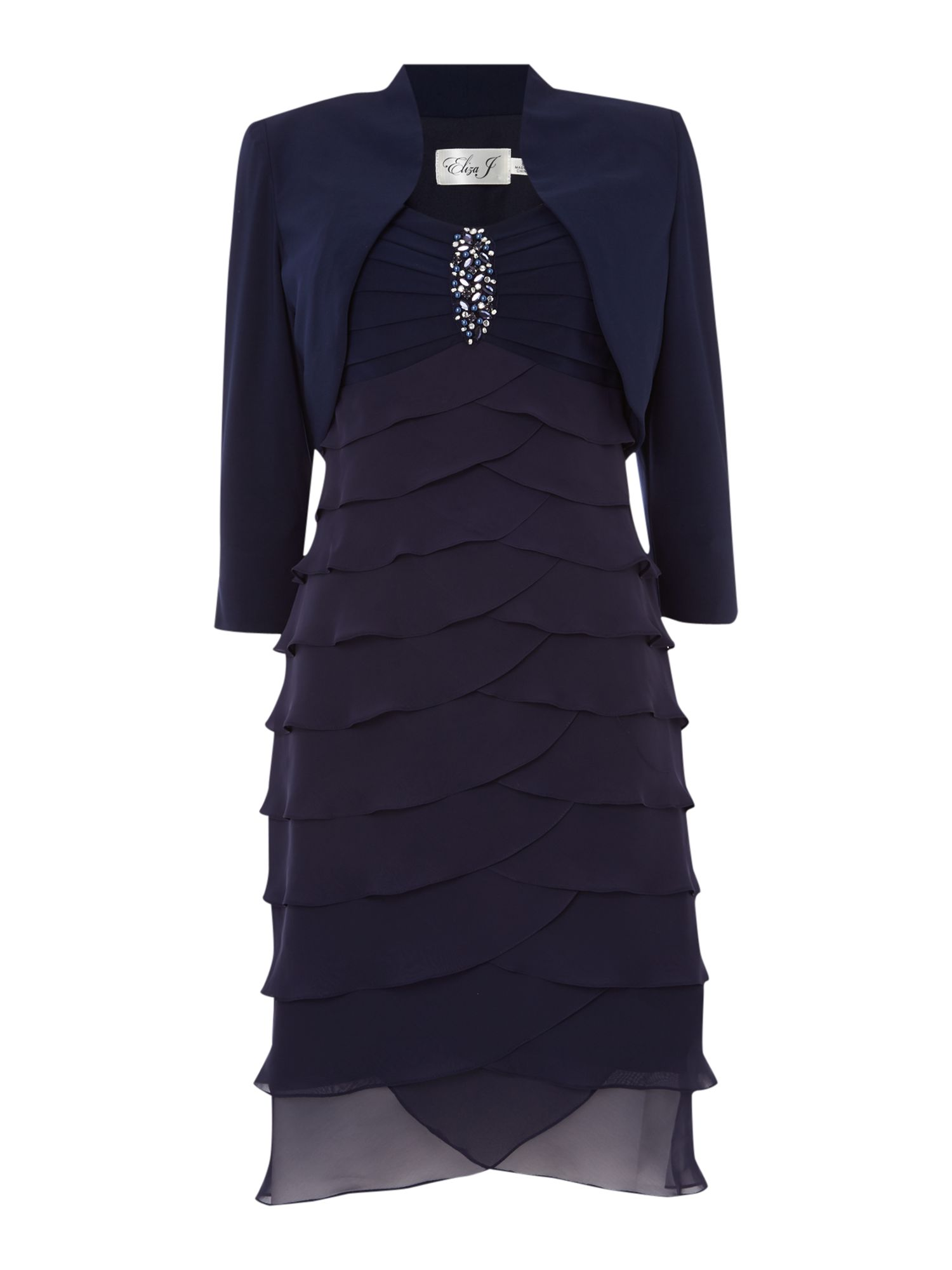 Eliza J Shutter dress with jacket, Navy