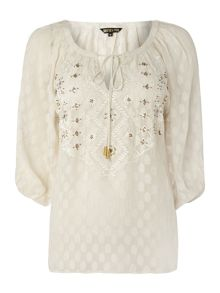 Embellished jacquard gypsy blouse