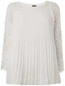 Ruth pleat and crochet lace blouse