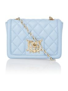 Blue mini quilt cross body bag