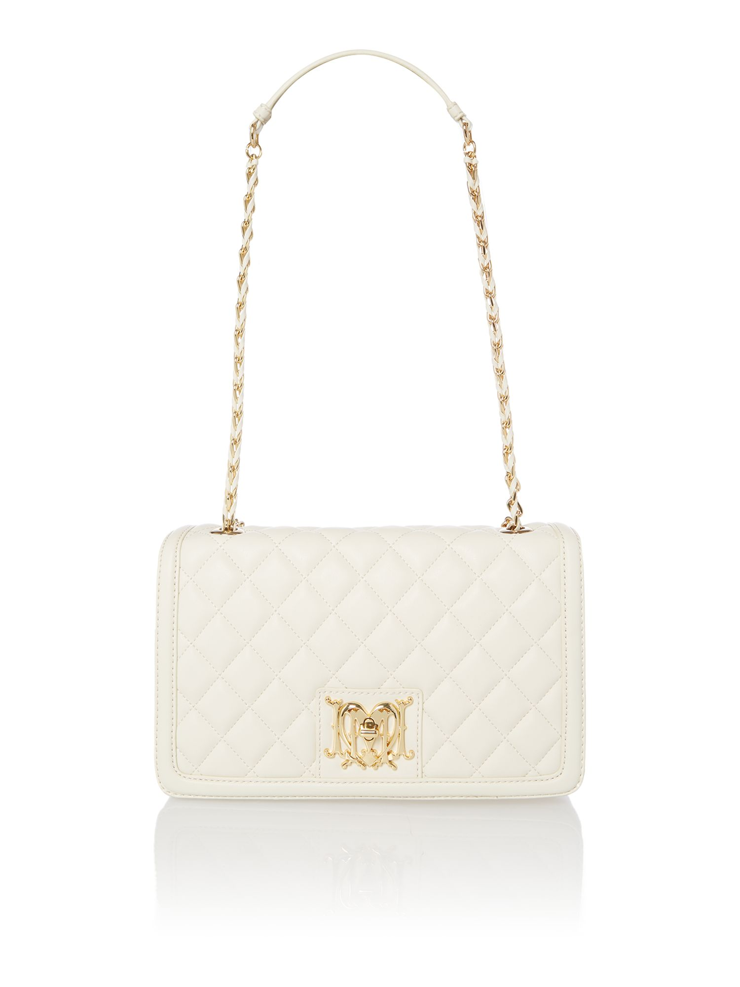 White Quilted Shoulder Bag 57