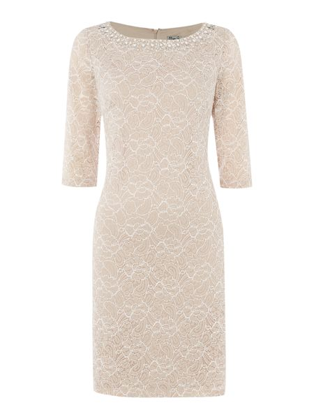 Eliza J 3/4 sleeve lace with beaded neck detail