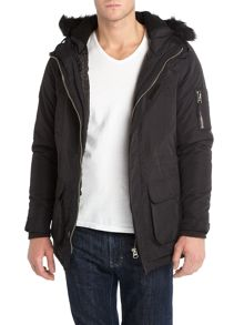 Padded parka with fur hood