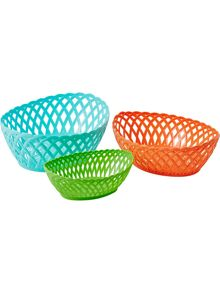 Oval plastic bread baskets