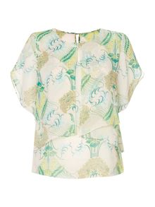 Printed envelope overlay detail blouse