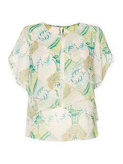 Biba Printed envelope overlay detail blouse